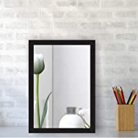Creative Arts n Frames Brown Color Synthetic Fiber Wood Made Framed Mirror || Size - 10inch x 12inch || Shaving Beauty Makeup Hand Held Vanity Mirror || (Black)
