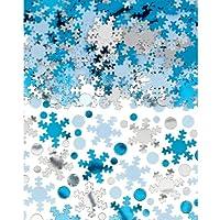 Amscan 1 Count Christmas Snowflake Super Mega Value Confetti Mix Foil, 5 oz, White