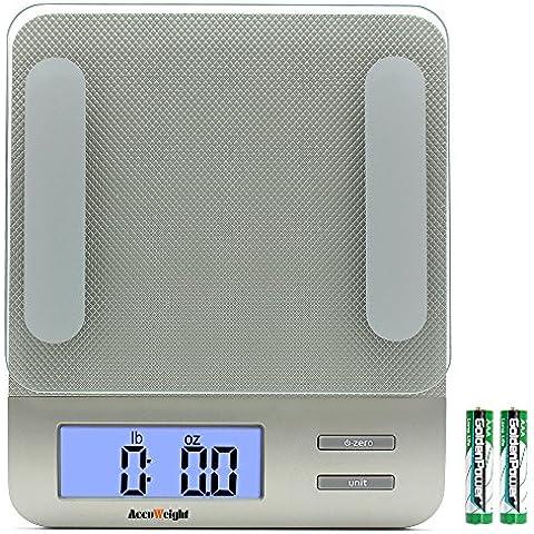 Accuweight digitale multifunzione da cucina e Scala alimentari, 11lb / 5kg capienza da 0,1 once / 1g, temperato piattaforma di vetro, argento