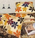 #9: Zikrak Exim Set of 5 Velvet Flower Patch Beige Poly Dupion Cushion Covers 40X40 cm (16X16 Inches)