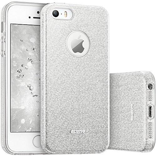 ESR iPhone SE Hülle, Glitzer Schutzhülle [Weiche TPU Abdeckung + Glitzer Papier + PP innere Schicht] [DREI in Einem] Hülle für iPhone SE 5S 5 (Silber)