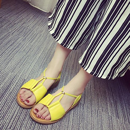 FEITONG Frauen Schuhe Bohemia Flache Sandalen Schuhe Gelb