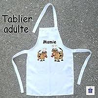 Texti-Cadeaux-Tablier cuisine adulte Vache à personnaliser Exemple: Mamie, Maman, Laurence