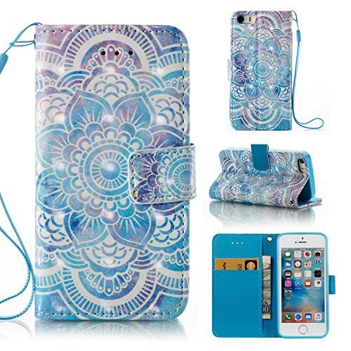 Cover Apple iphone 5 / 5S / SE, Custodia Apple iphone 5 / 5S / SE, Alfort Custodia Protettiva Premium 3D PU di Alta qualità Flip Case Custodia per Apple iphone 5 / 5S / SE 4.0 Smartphone Custodia di  Datura