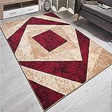 Designer Teppich mit Karo Kariert Meliert in Beige Rot - ÖKO TEX (80 x 150 cm)