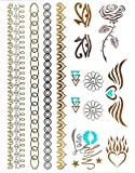 KLIMBIM Bling your Body mit Flash Metallic Tattoos Gold Schmuck Tattoo für Körper Finger Arme viele Designs (No.42)