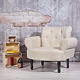 Design Esszimmer Polstersessel creme Barock Stil Textilsessel Sitzmöbel -
