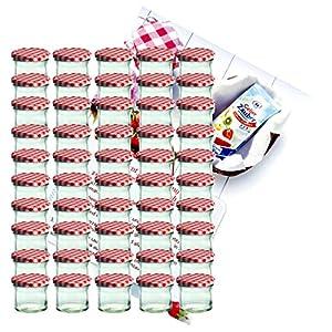 MamboCat 50er Set Sturzglas 125 ml Marmeladenglas Einmachglas Einweckglas to 66 rot Karierter Deckel incl. Diamant-Zucker Gelierzauber Rezeptheft