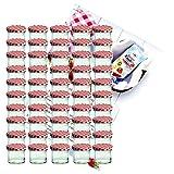Set di 50 caduta vetro 125 ml vetro barattolo da conserva To 66 marmellate rosso a scacchi con coperchio thuppaki-zucchero Gelierzauber ricetta manico