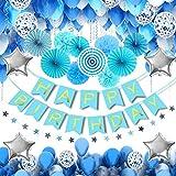 Decorazioni Feste di Compleanno MMTX, Bomboniere Da 56 Pezzi Con Bandiere Di Buon, Palle di Pompon di Carta Velina, Ventagli Di Carta, Stelle Di Elio Per Feste di Compleanno, Matrimoni baby shower