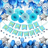 MMTX 56 Stück Geburtstag Deko für Junge Blaue Happy Birthday Girlande Folienballon Latex Ballons Blau Konfetti Luftbal