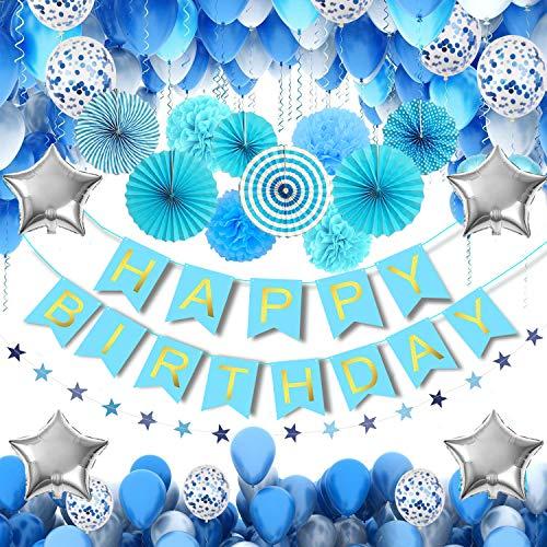 MMTX 56 Stück Geburtstag Deko für Junge Blaue Happy Birthday Girlande Folienballon Latex Ballons Blau Konfetti Luftballons Pom Poms & Helium Herz Stern Folienballon Ballon für Babyparty Babyshower