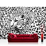 Vlies Fototapete 208x146cm PREMIUM PLUS Wand Foto Tapete Wand Bild Vliestapete - Tiere Tapete Leopard Muster Natur Kopf schwarz weiß - no. 2264