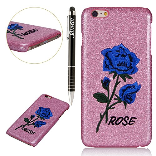 Custodia iPhone 6, iPhone 6S Cover Glitter, SainCat Custodia in PC Protettiva Hard Cover per iPhone 6/6S 4.7, Bling Glitter 3D Design Hard Case Shock-Absorption Ultra Slim Sottile Custodia PC Cover Ca Fondazione Blue Rose