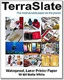 """TerraSlate Paper 10 mil stampante laser pesante impermeabile / copiare 8.5 """"x 11"""" 25 fogli 80 lb White Cover"""