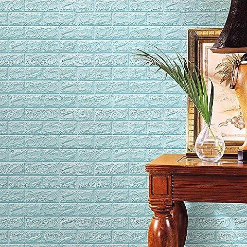 Kingko® 1PC 60 X 60CM PE Foam 3D DIY Wall Stickers Ceramic Tile Kid's Bedding Room Decor Embossed Brick Stone (Light Blue)