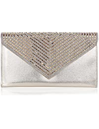 Womens Satin Pleated Evening Purse, Wallyn'S Elegant Clutch Bag Party Prom Envelope (Gold Line)