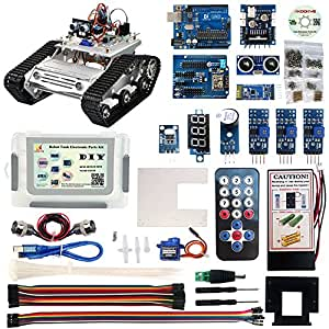 KOOKYE Robot Car Tank Electronic Parts with Chassis Platform Components Set for Arduino Hands-On DIY