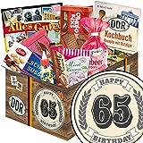 Geschenkideen zum 65. für Ostalgiker - DDR Geschenk Box mit Süßigkeiten | Geschenk Set