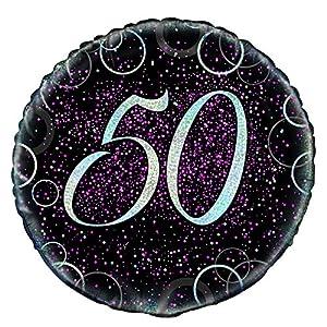 Unique Party Globo foil de 50 cumpleaños Color rosa metálico brillante 45 cm 55797