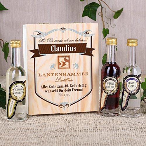 Privatglas Lantenhammer Geschenkschatulle aus Holz inkl. Beschriftung