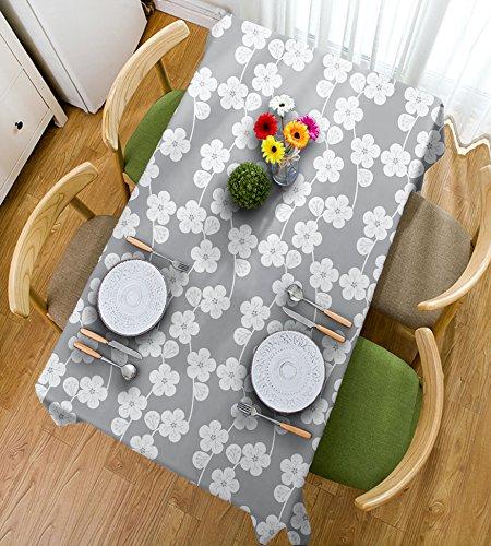 HAIXIA Tischdecken Geometrische Blumen Gemustert Monochrome Bild Blütenblätter Bud und Stiele Vintage Blattwerk Design Deko Grau Beige, 55inch*82inch (Blütenblätter Gemusterte)