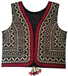 Trendish Women's Cotton Kutchi Multi Colored Embroidery Work Jacket (Black_Medium Size)