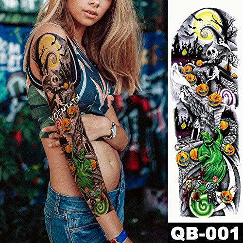 tzxdbh New Tattoo Sticker Schädel Kürbis Halloween Tattoo mit Arm Body Art Big Sleeve Large