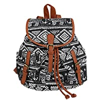 WINOMO Elephant Print Canvas Backpack Rucksack Casual School Bag Drawstring Camping Sports