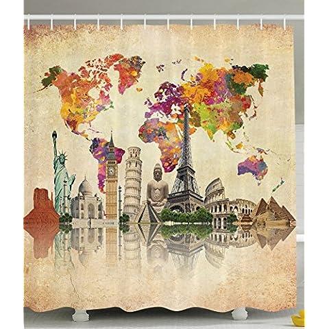 bbfhome Hem pesos Tarjetas de tejido de poliéster País De Cuarto de baño cortina de ducha (con ganchos Vieja Cultura grandes Vintage Mapa de El Mundo Impresiones, poliéster, 180 ( L ) x 200 (H) CM