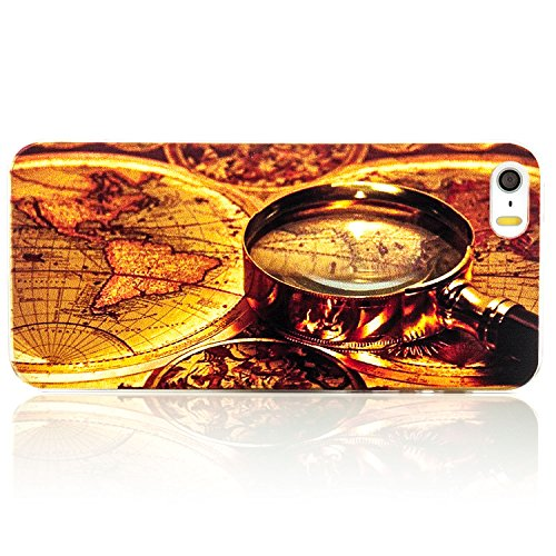 Saxonia Apple iPhone SE 5S 5 Hülle Hard Case Back Cover Schutzhülle Motiv Youth Planet Peace Weltkarte Lupe