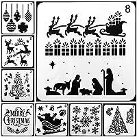 Plantillas de pintura, Plantillas de dibujo de Navidad, 8 pcs. Diferentes juegos de