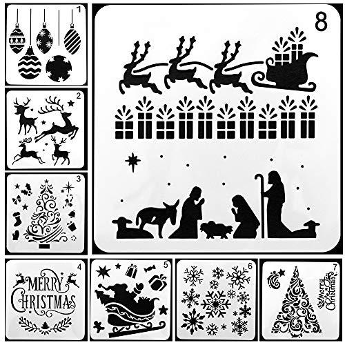 Plantillas de pintura, Plantillas de dibujo de Navidad, 8 pcs. Diferentes juegos de plantillas de escalas plásticas de estilo navideño con Feliz Navidad para bricolaje Pintura