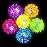 German-Trendseller ® 6 x balles rebondissantes à picots┃ LED clignotante┃ jeux lumineuses┃ l'anniversaire d'enfant┃ idée cadeau┃pochette cadeau