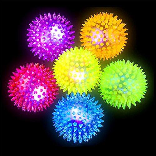 German Trendseller® - 12 x LED Stachel - Bälle┃ 6 cm ┃ Blinkflummi ┃ Stachelball ┃ Kindergeburtstag ┃ 12 Stück
