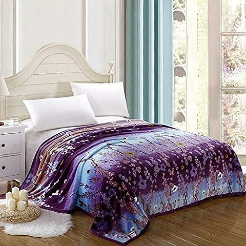 hhyws Couvre-lit doux et chaud Plaid épais Violet Fleurs non pelucheux et Stingrays, 200* * * * * * * * 220