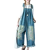 YESNO Women Casual Loose Floral Printed Rompers Jumpsuits Denim Overalls PE5UK