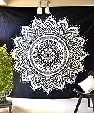 Noir Blanc Lotus Mandala Tapisserie Bohème hippie Décoration murale à suspendre indien Taille Queen Boho Art Couvre-lit couverture Ombre Parure de lit pour chambre à coucher