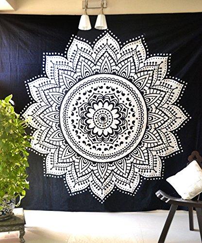 Negro Blanco Lotus Mandala Glorafilia bohemio Hippie