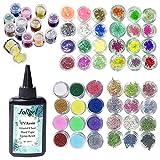 Joligel 100ml UV Epoxidharz kristallklar transparent + 60 Dekorationen, einschließlich Glitzer, Pailletten, getrocknete Blumen, Korallenblumen und Bunte Pergamin