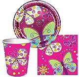 Tischdeko Pink Schmetterling (32 Teile) für 8 Mädchen (Teller, Becher & Servietten)