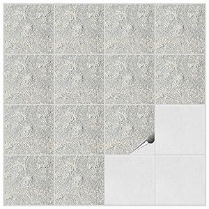 Foliesen 2272020 Adesivi per piastrelle da bagno e cucina, decorazione con effetto pietra numero 4, 20 pezzi, in PVC, 15 x 15 x 0,5 cm