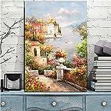 Geiqianjiumai Poster und Drucke abstrakte mediterrane Gartenlandschaft Ölgemälde auf Leinwand Moderne Wanddekoration