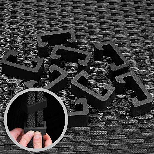 Deuba Poly Rattan Aluminium Lounge Set Schwarz   wetterbeständiges Alu-Gestell   Einzelelemente flexibel kombinierbar   UV-beständiges Polyrattan   Sitzgarnitur Couch Sitzgruppe Bild 5*