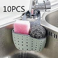 Support de rangement à ventouse pour évier, idéal pour contenir savon, éponge, etc. pour salle de bains, cuisine, permet l'écoulement de l'eau