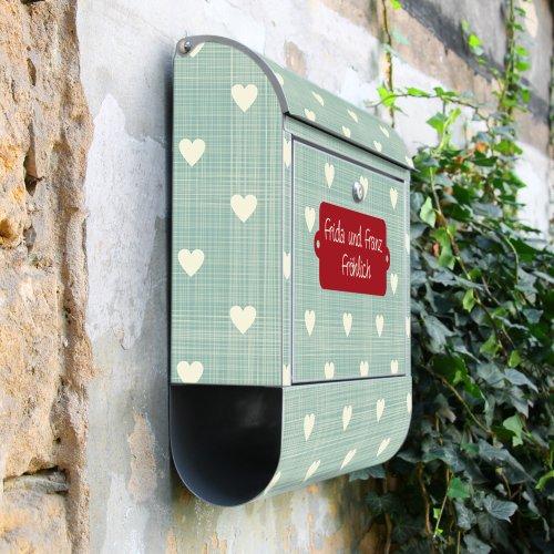BANJADO Design Briefkasten mit Zeitungsfach, 2 Schlüssel, A4 Einwurf, silber pulverbeschichtet, mit Motiv WT Muster Herzen - 8