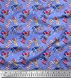 Soimoi Azul Jersey de algodon Tela mujeres, globo y petardos fiesta tela artesanal impresa por metro 58 Pulgadas de ancho