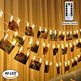 LED-Foto-Clips Lichterketten 40 Photo Clips 16.4Füße (5M) Fernbedienung Batteriebetriebene Dimmbare Foto-Display Starry Lampe mit 8 Modi, Weihnachtsbeleuchtung Sternenlicht Licht USB Powered warmes Weiß für Hang Pictures Karten Notizen, Warm White