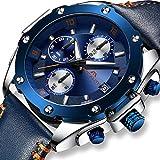 Herren Uhren Manner Militär Wasserdicht Chronograph Designer Sport Leuchtende Armbanduhr Mann Business Mode Luxus Blau Leder Analog Quarzwerk Uhr