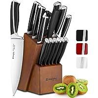 Emojoy Ensemble de Couteaux, 15 pièces Bloc de Couteaux de Cuisine avec Bloc, poignée en ABS pour Lot de Couteaux de…